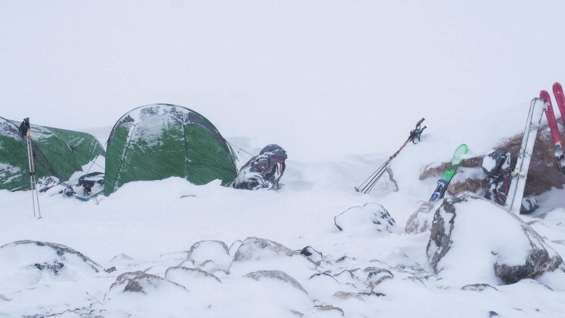 Tents in heavy snow in Upper Suknob Valley, Tajikistan.