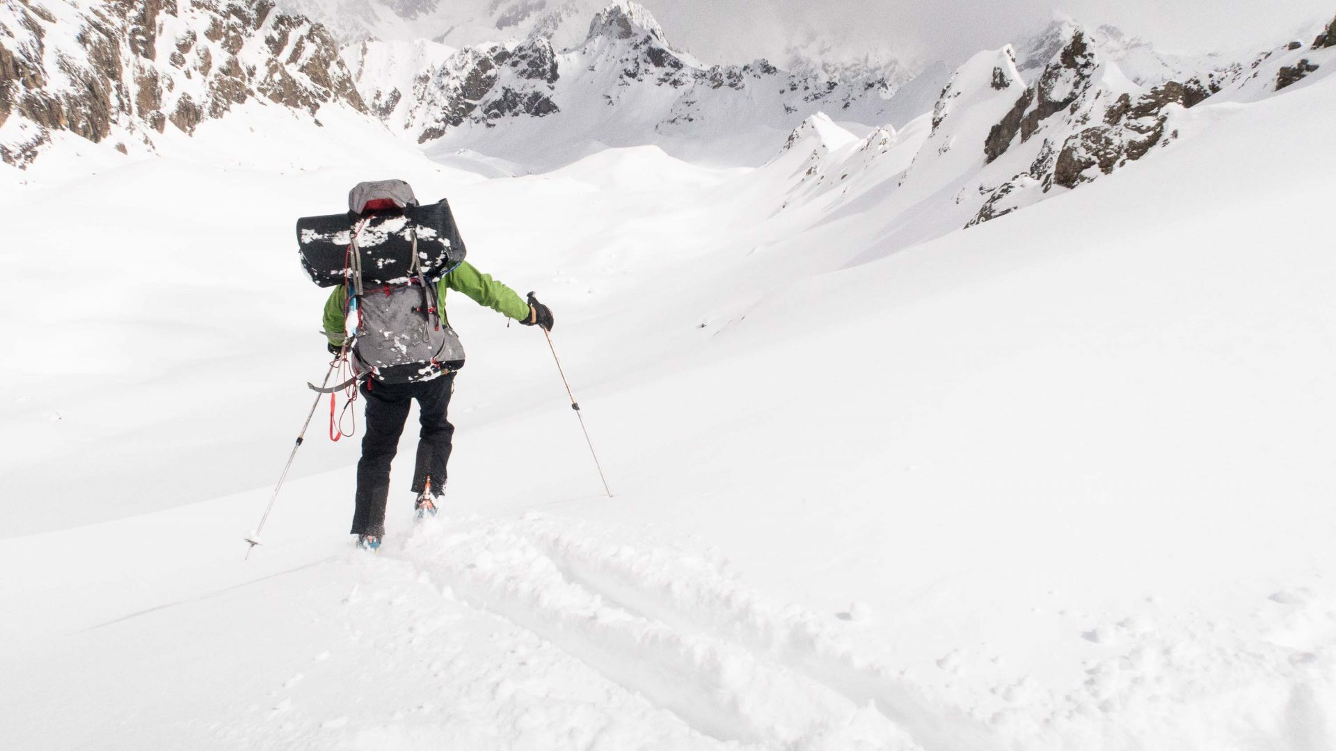 Dave starting the run down off Dvoinoi Pass (3300m), Tajikistan.