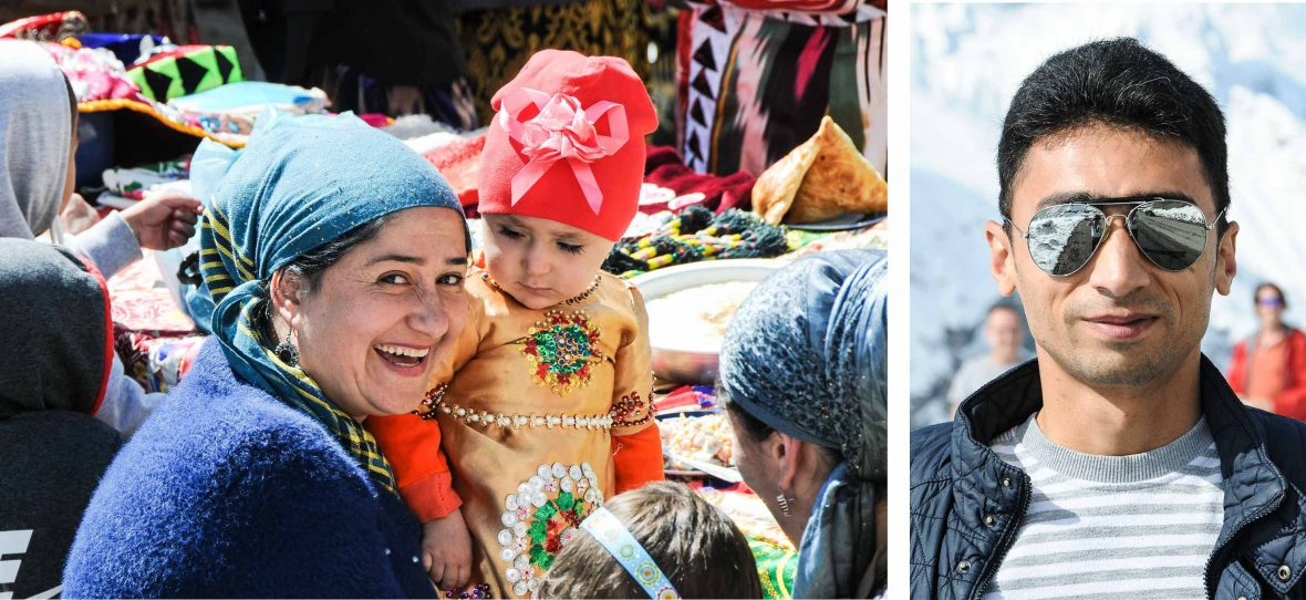 Left: Locals celebrate Navrus Festival in Pasrud Village; Right: Eraj—guide, driver and fixer for the trip to the Fann Mountains.