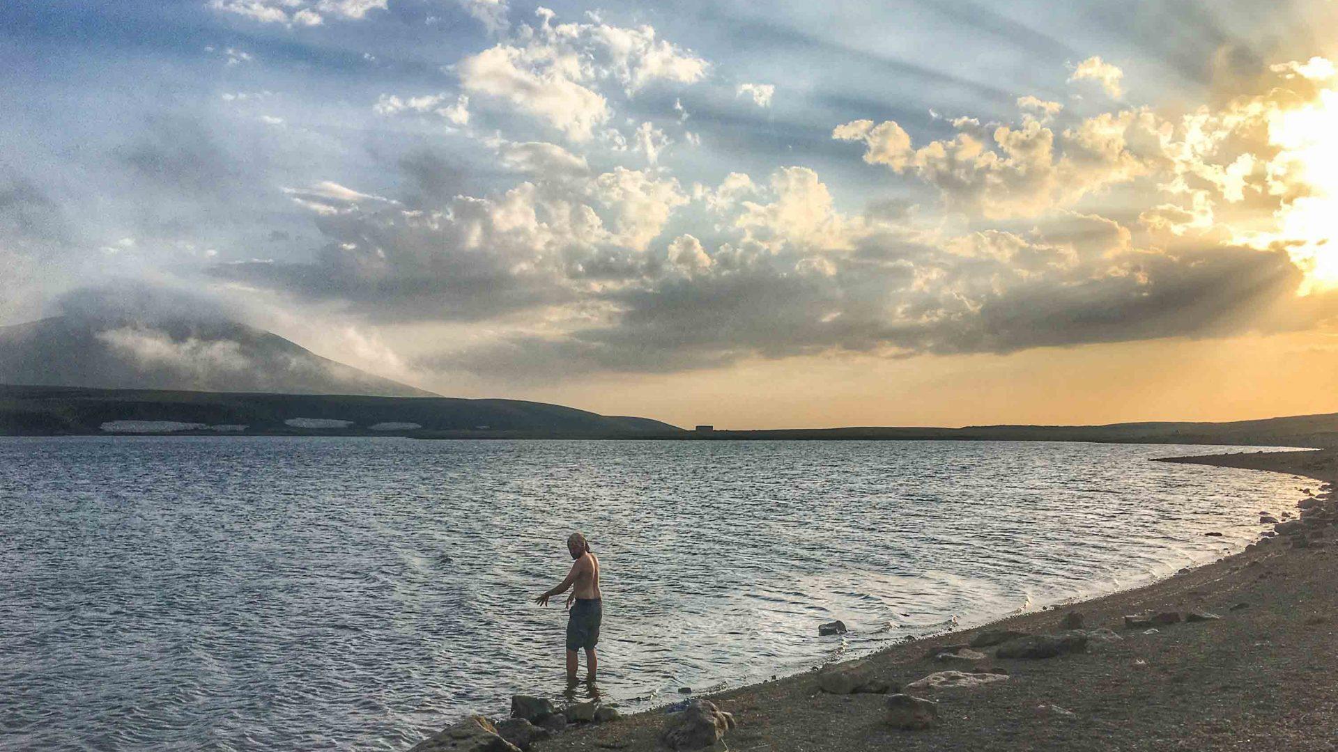 A swim and a wash in Lake Akna in the Caucasus, Armenia.