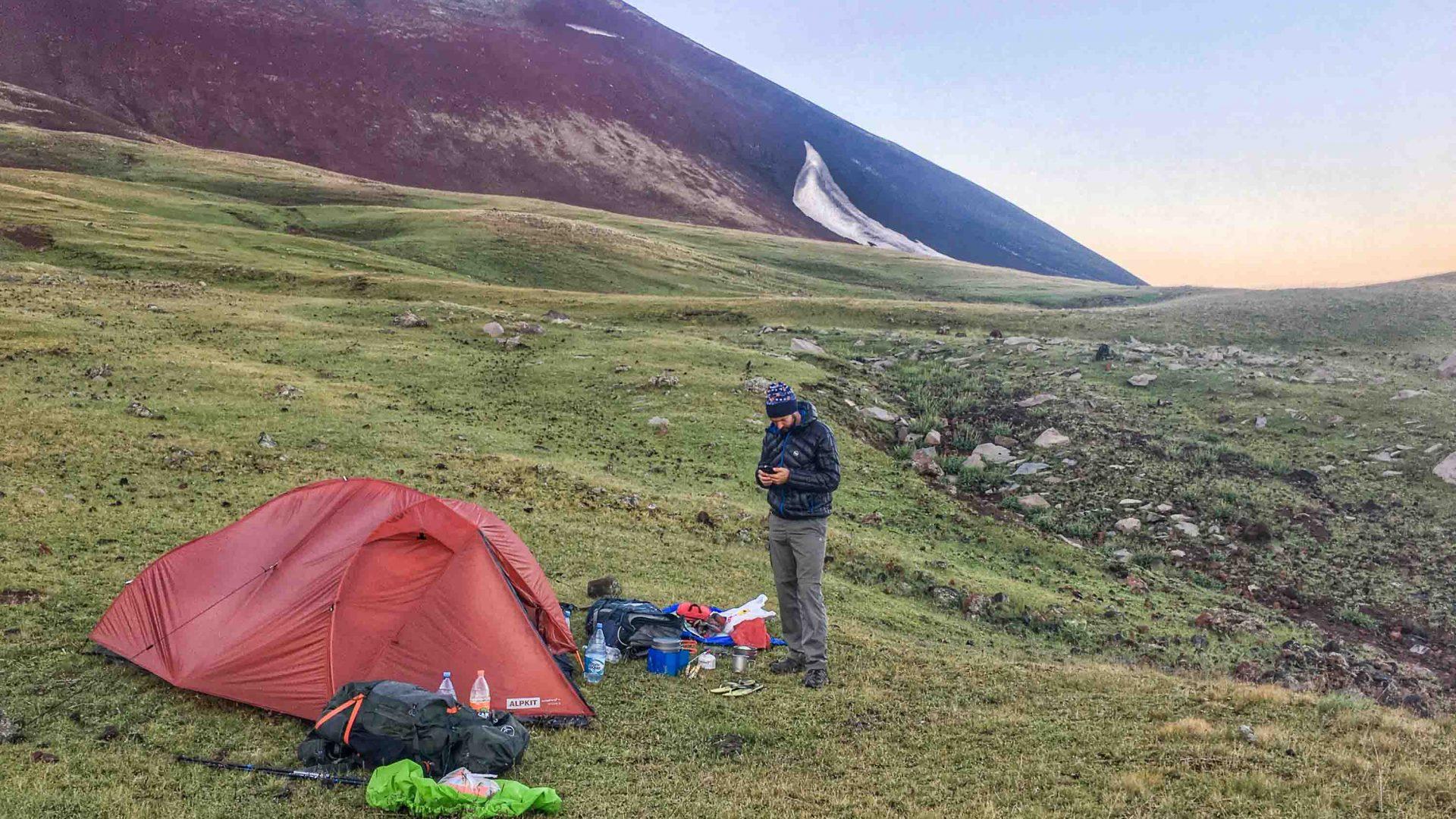 Campsite on Azdahak mountain the morning before the summit push.