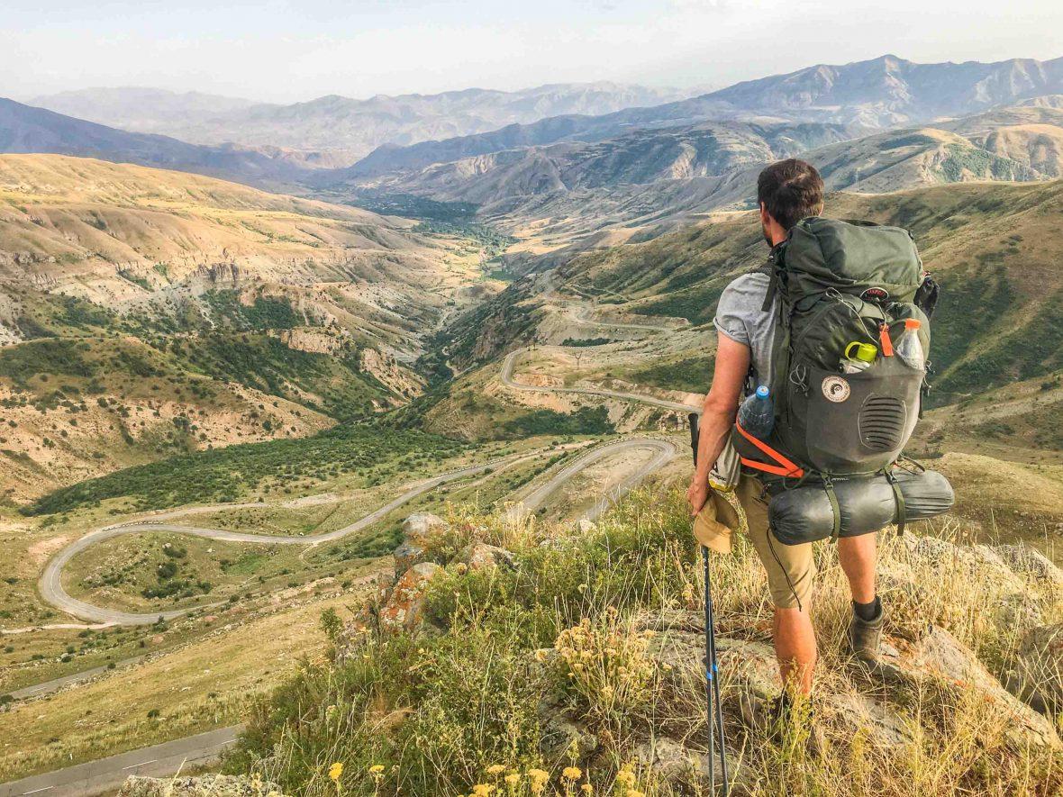 Leon McCarron overlooking Selim Pass, Caucasus, Armenia.