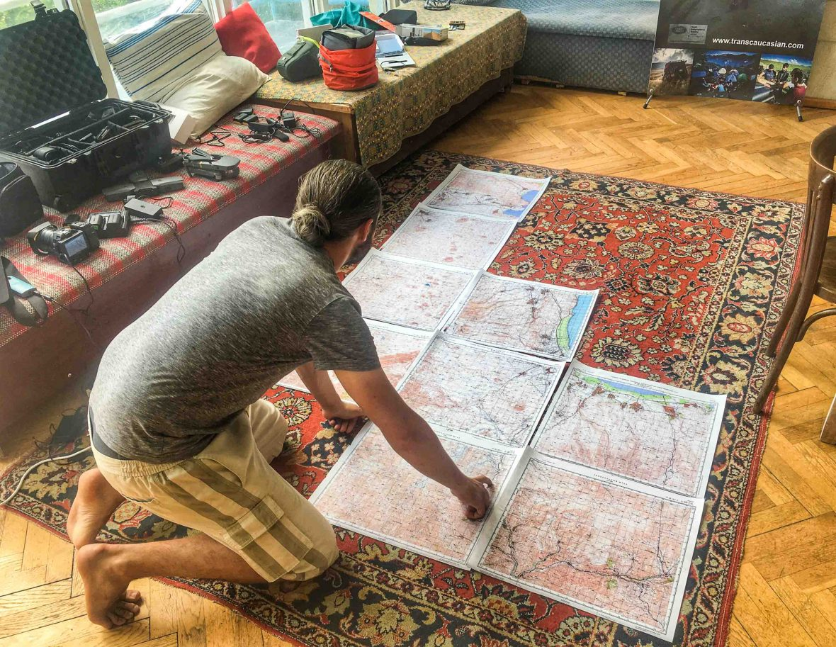 Poring over old Soviet maps ahead of the journey through the Caucasus, Armenia.