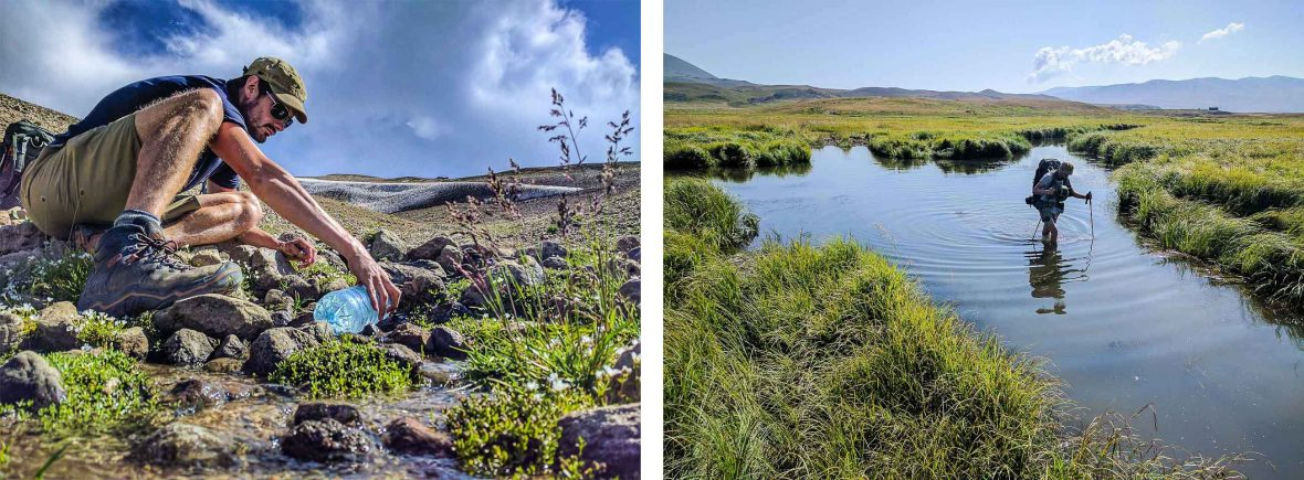 Gathering water from a stream (left) and wading through waist-deep water (right) in the Caucasus, Armenia.