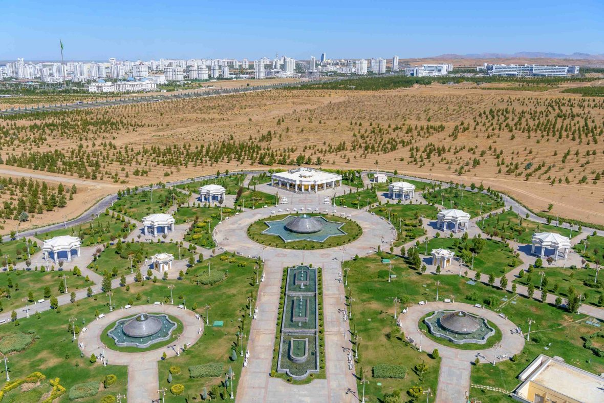 An aerial view over the capital city of Ashgabat, Turkmenistan.