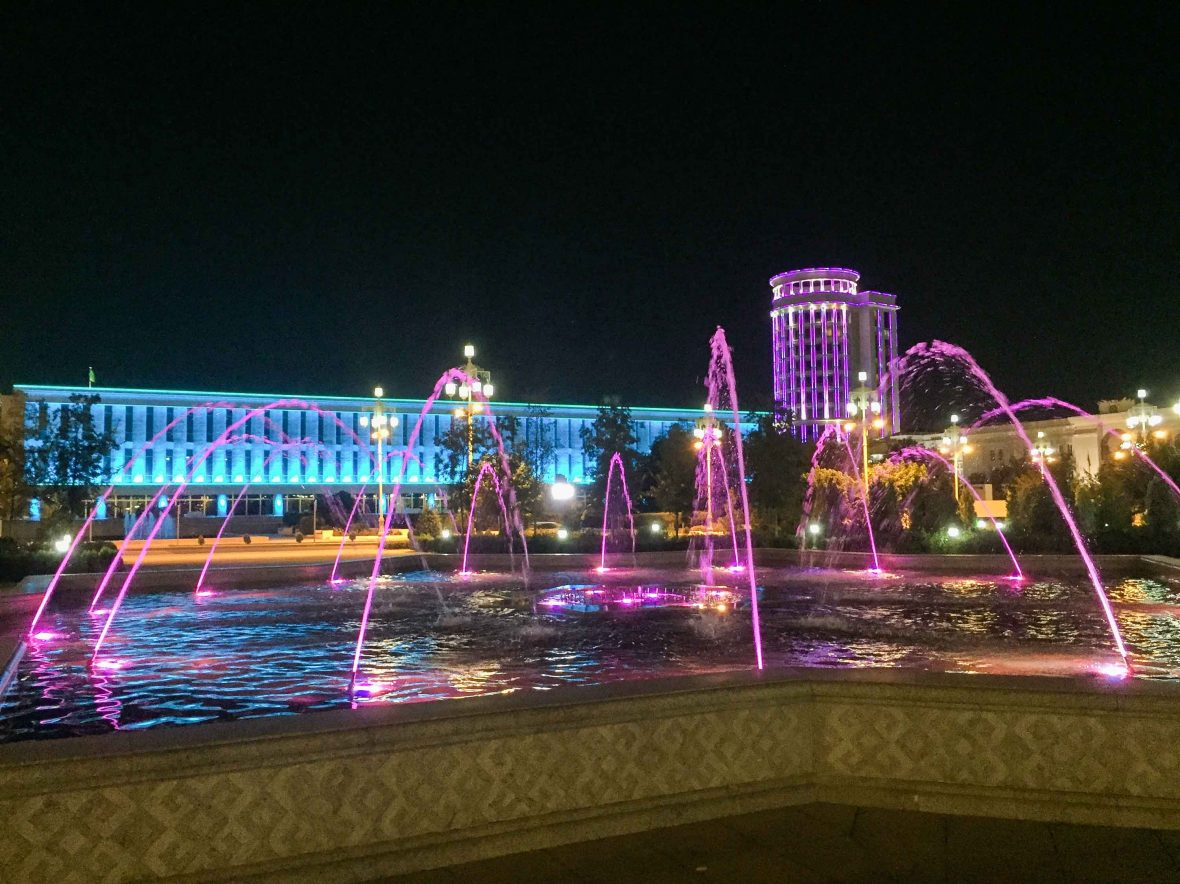 Ashgabat at night, Turkmenistan.