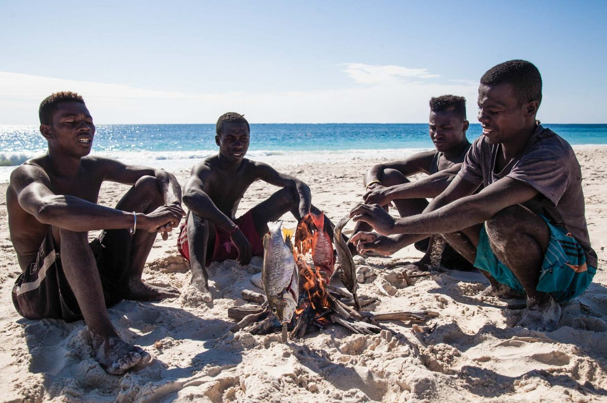 The crew grill their catch on a tiny desert island off the west coast of Madagascar.