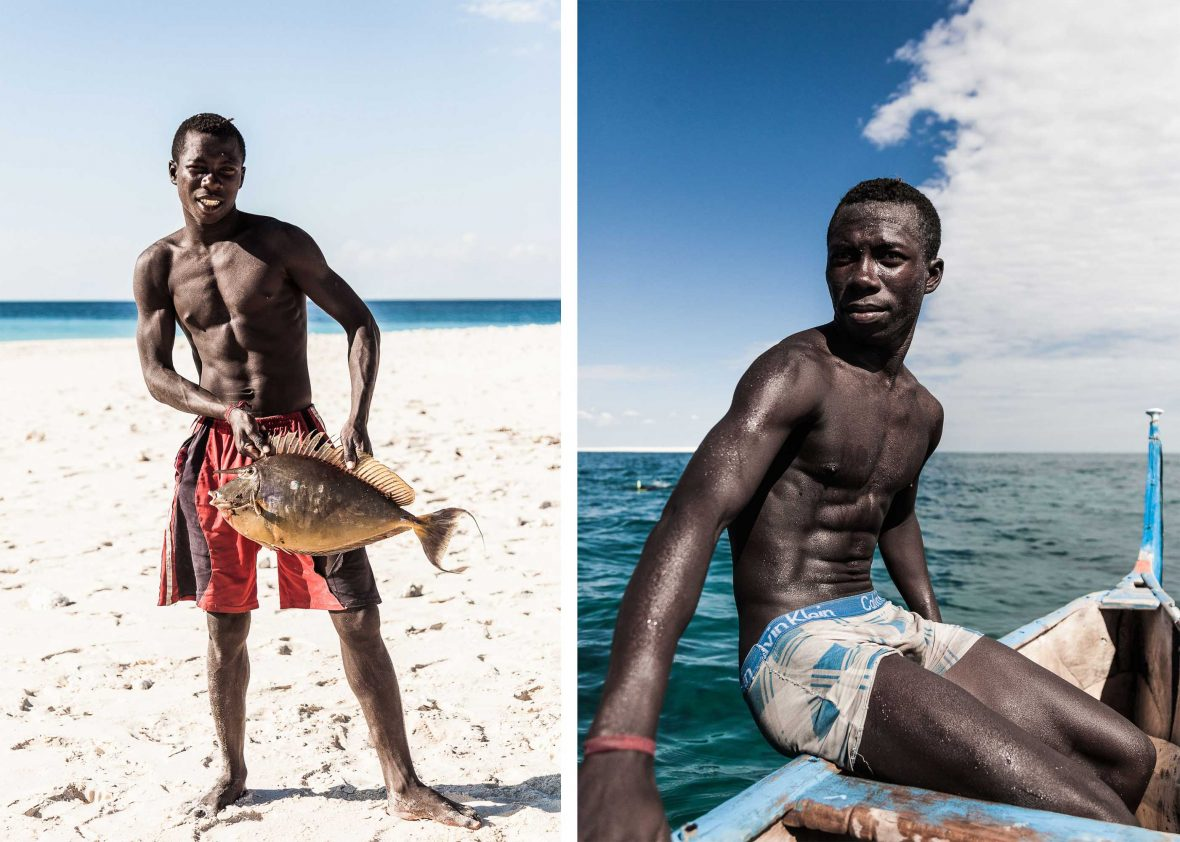 Left: Denis shows off a catch; Right: Denis warms himself in the sun while Raja snorkels near the sandbank.