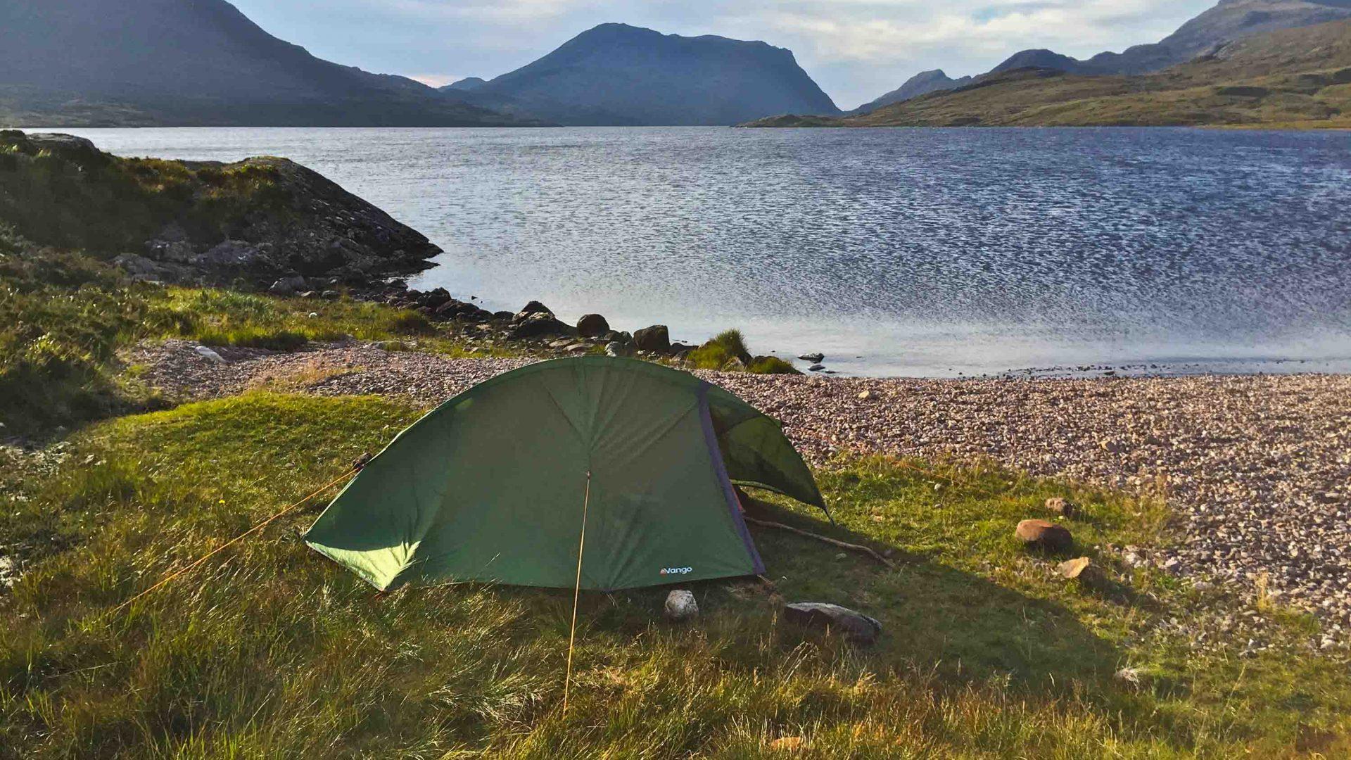 Camping by Lochan Fada near Kinlochewe, Cape Wrath, Scotland.