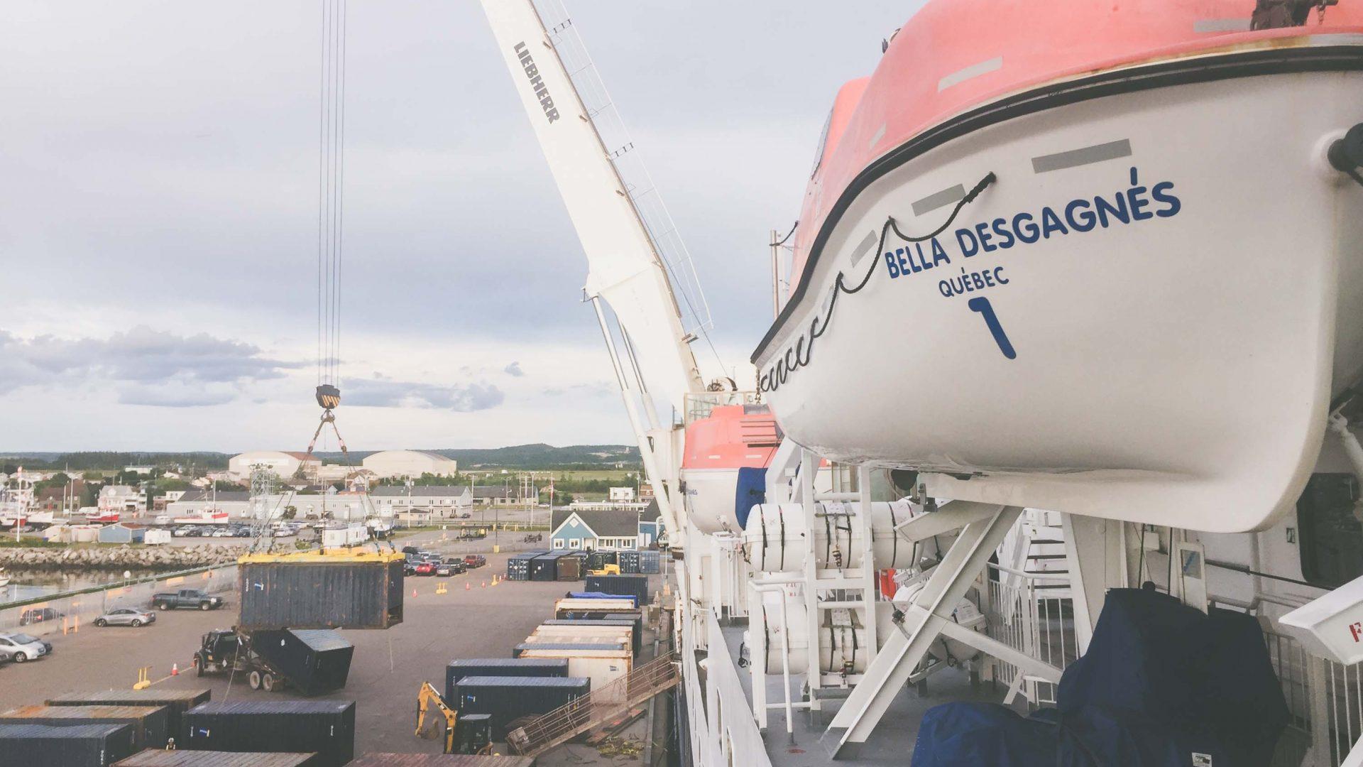 Cargo ship MV Bella Desgagnes offloading cargo.