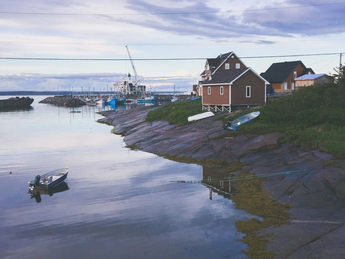 One of the small villages that can be found while sailing on-board the cargo ship MV Bella Desgagnes in Quebec.