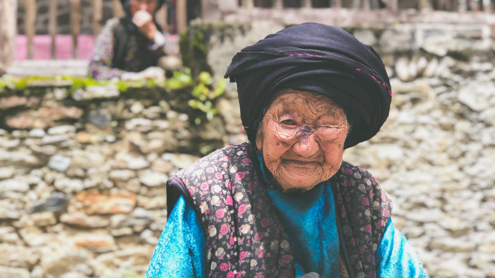 109-year-old Ma Chang Ying in the village of A'er, China, that's home to the Qiang minority.