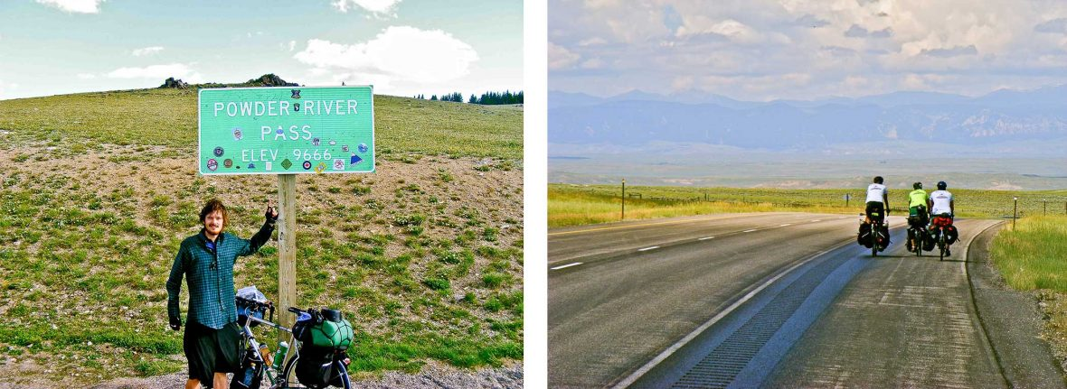 Left: A 23-year-old Leon McCarron reaches the highest point of his solo US bike ride while crossing the Rockies; Right: Finding company on the road in South Dakota.