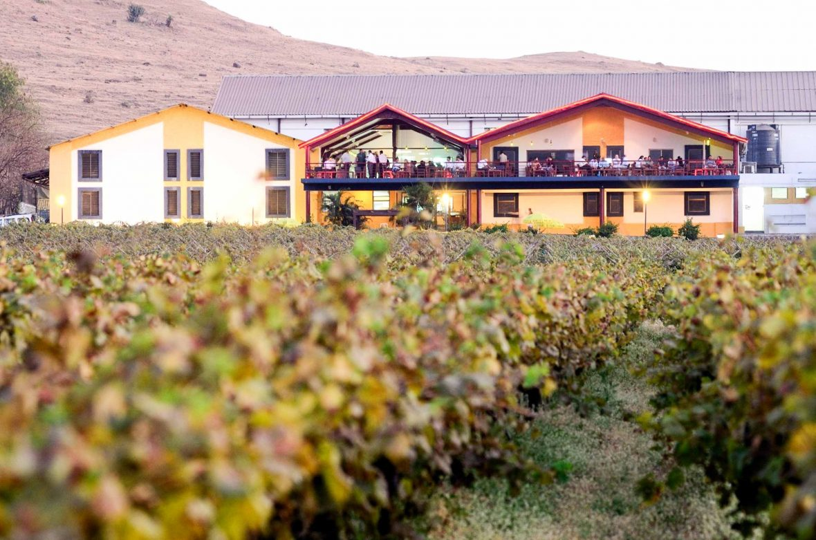 The vineyards, tasting rooms, balcony and restaurant at Sula Vineyards in Nashik, India.