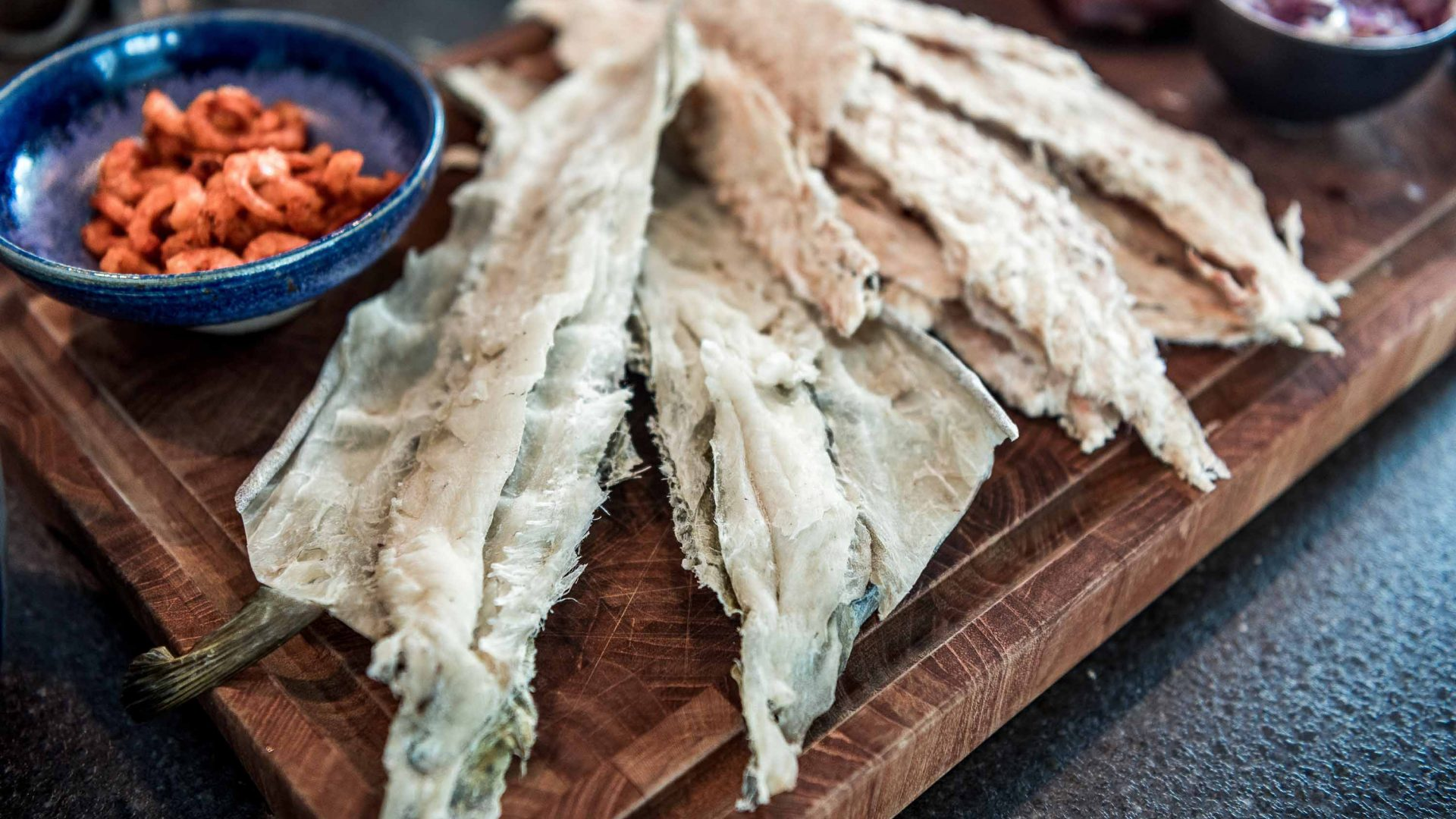 Food such as dried cod and dried shrimps is an integral part of the Inuit diet.