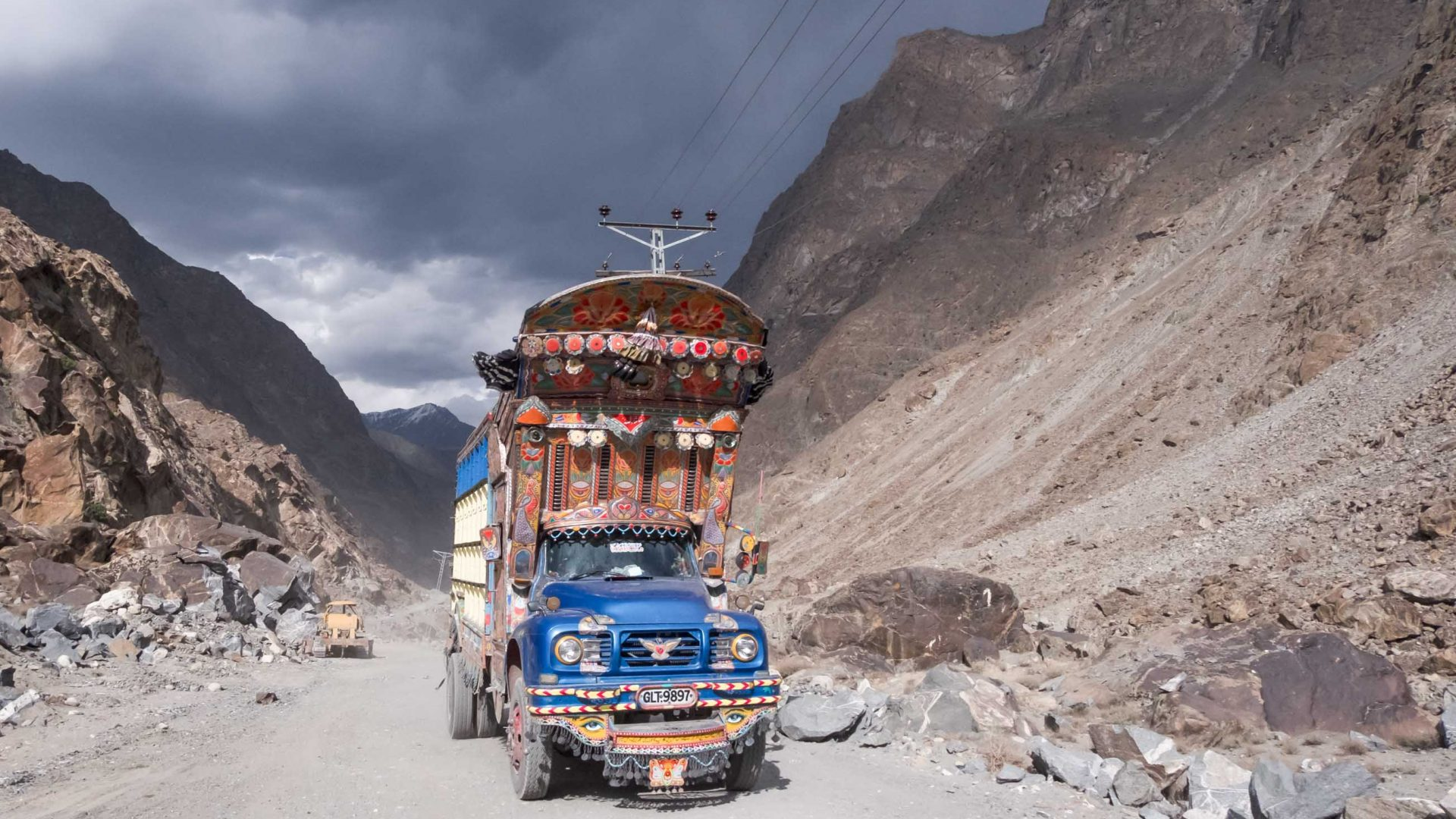 One of the many colorful trucks that you are likely to pass while riding in the Karokoram range in Pakistan.
