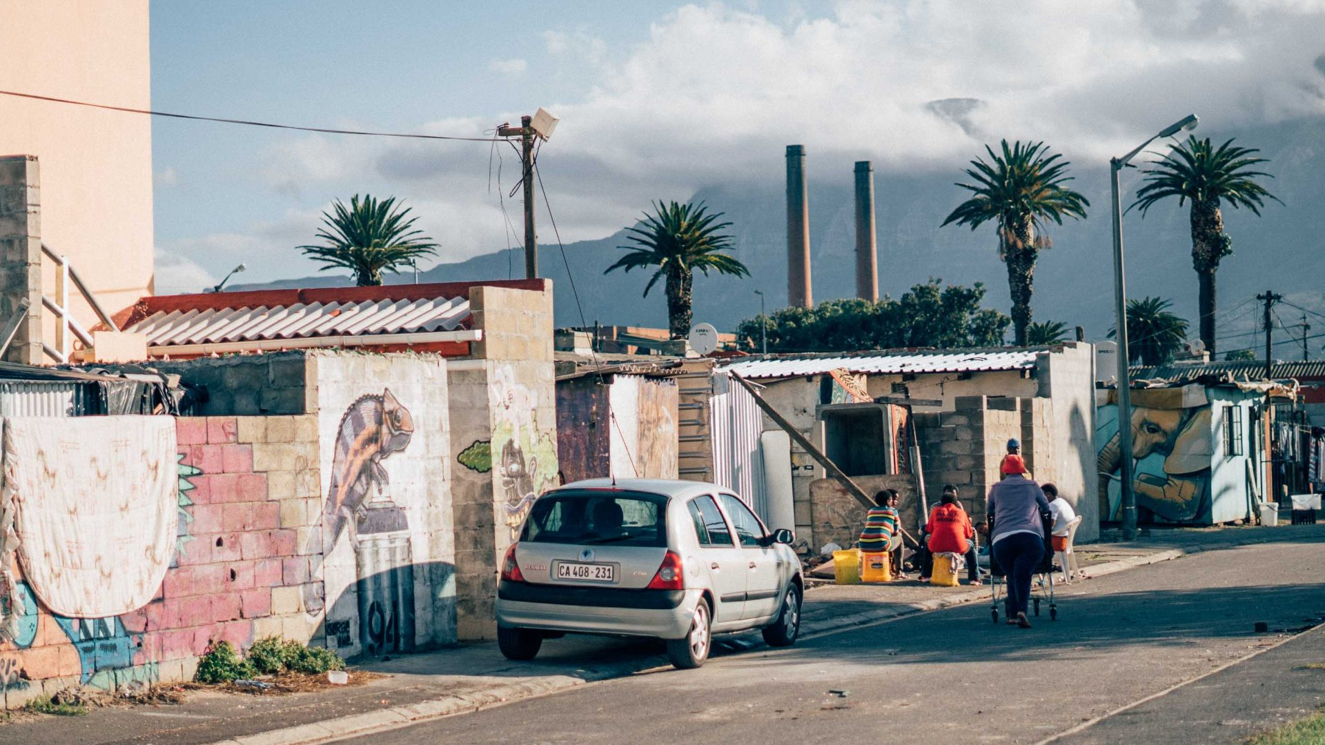 A typical street scene in Langa, Cape Town.