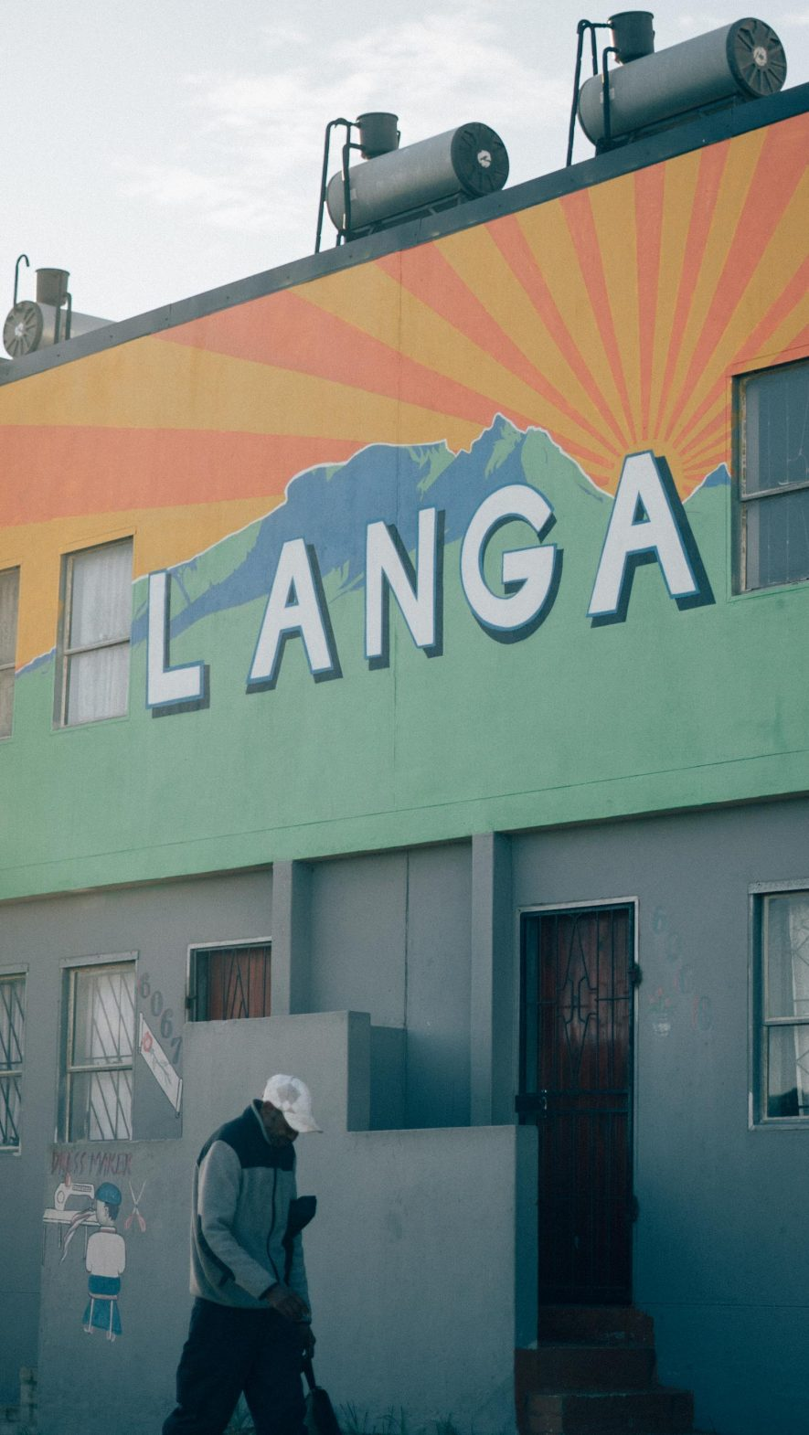 A wall with the township name of Langa, Cape Town.