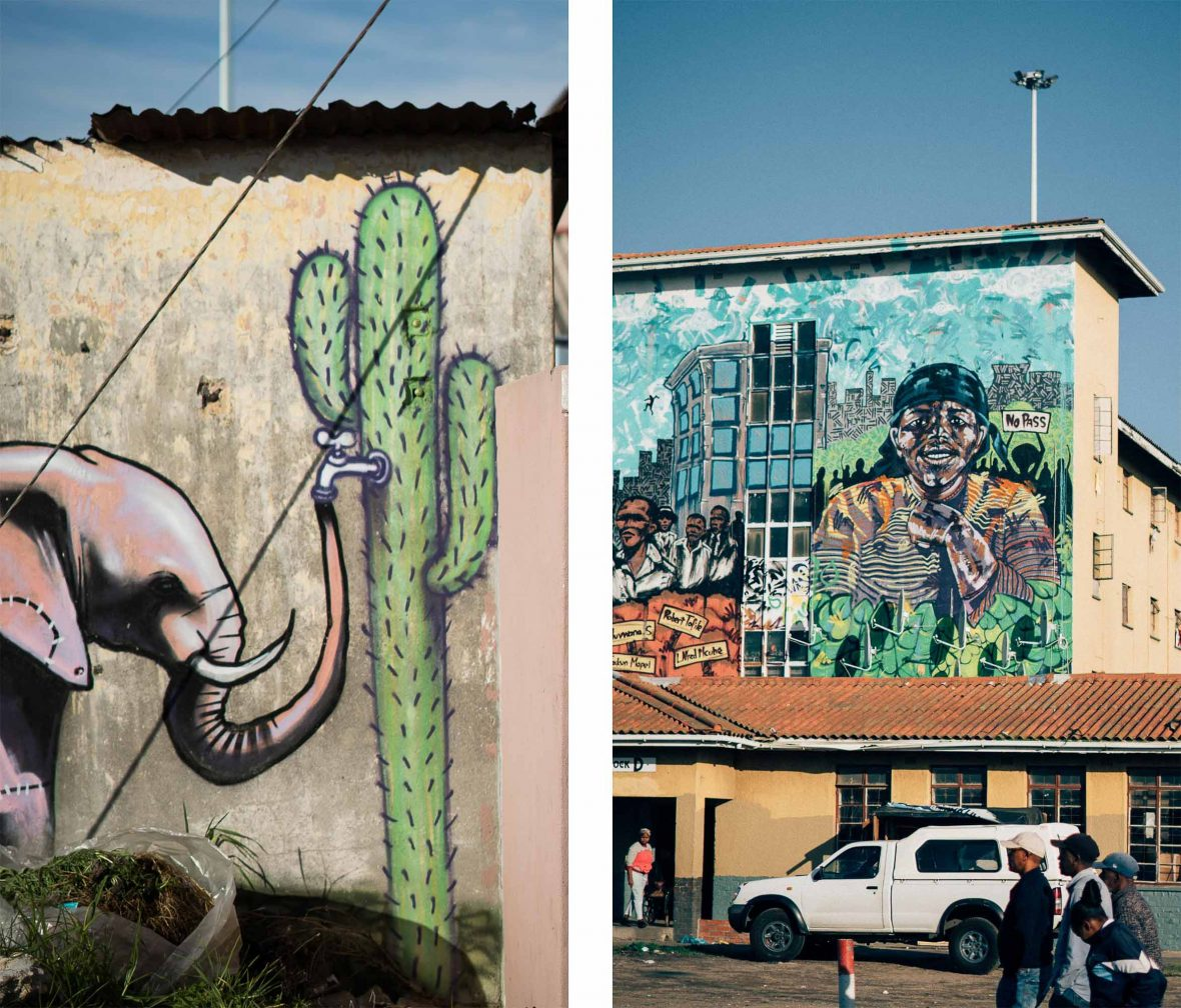 Left: Graffiti artist Falk One comments on the Cape Town drought; Right: more piece of street art adorns a wall.