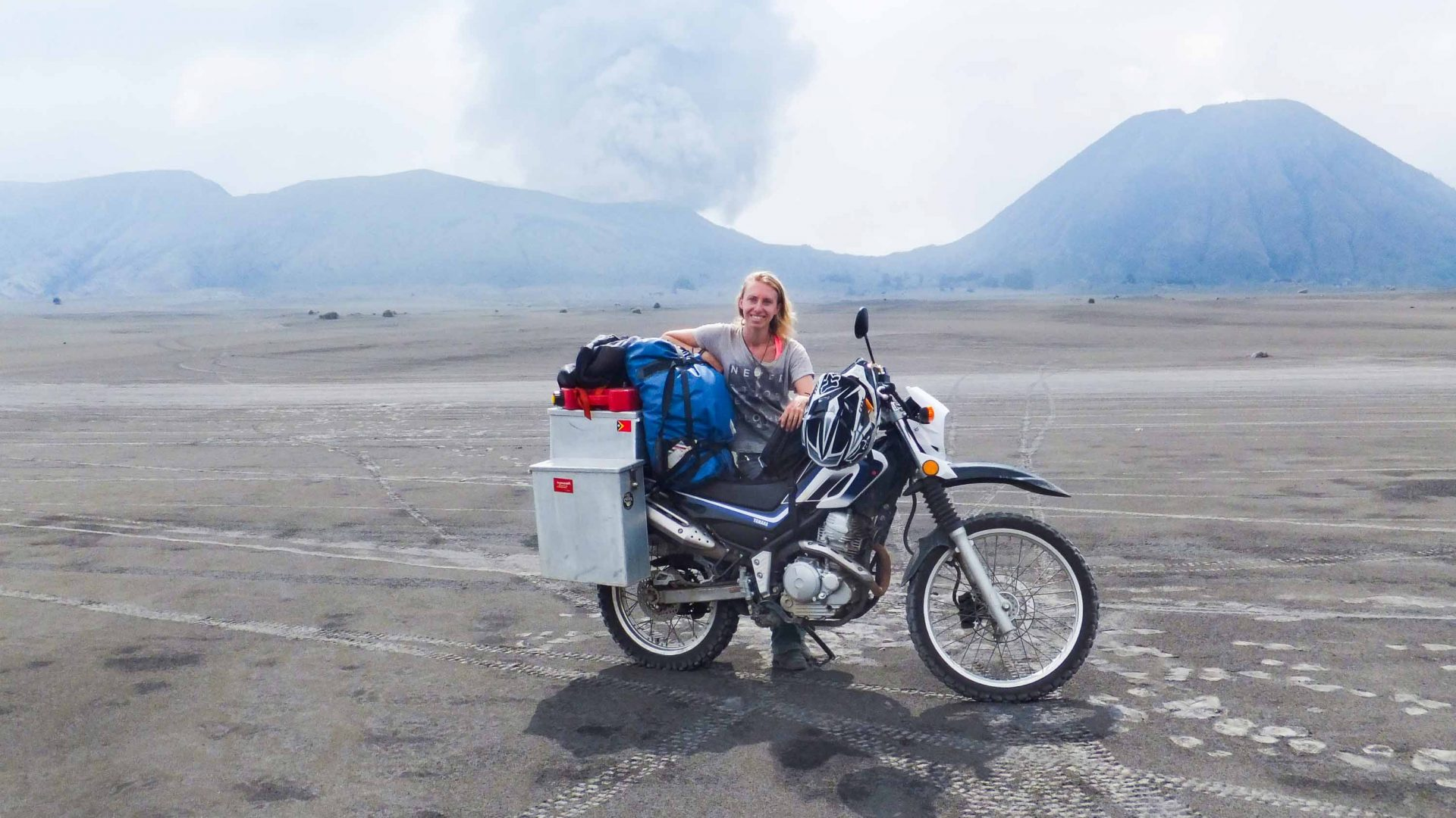 Chantal Simons with her bike at Mount Bromo volcano in Indonesia.