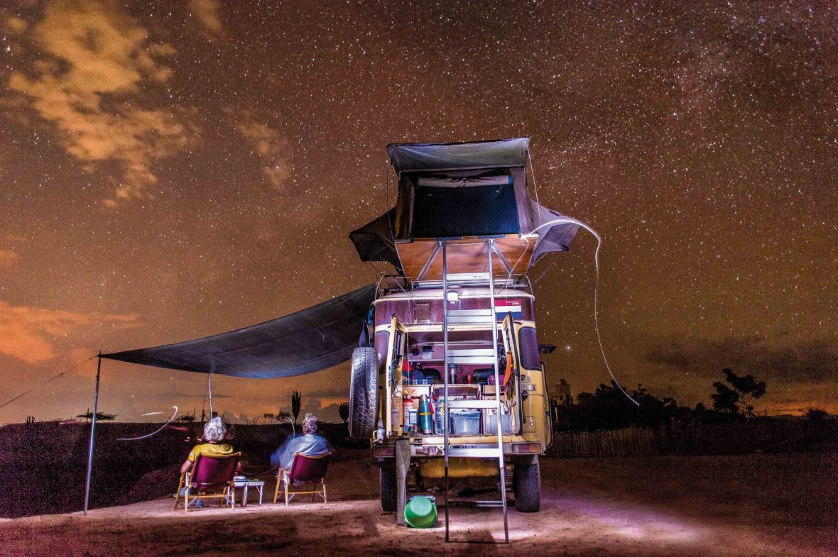Karin Marijke and her partner Coen enjoy the night sky in Tatacoa Desert in Colombia.