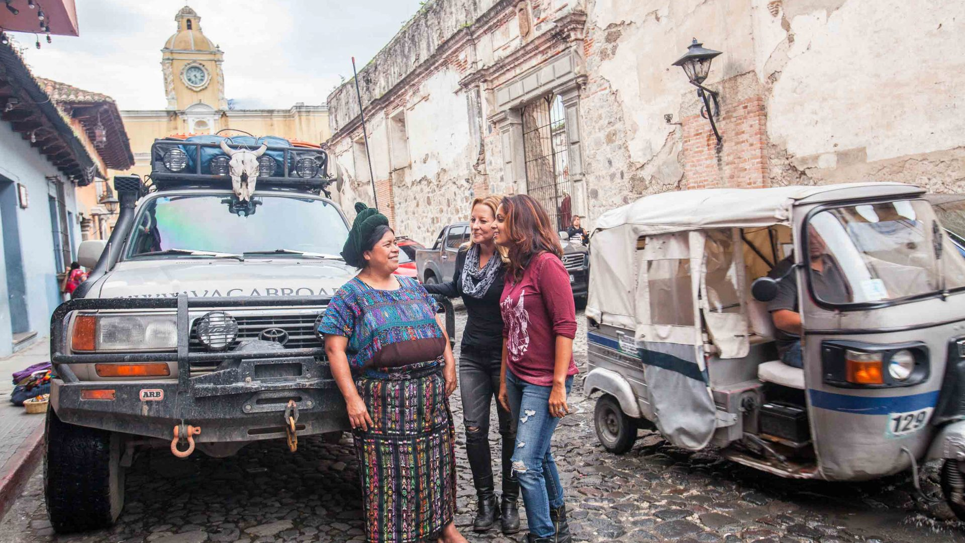 Sunny and Karin chat with a local in Antigua, Guatemala.