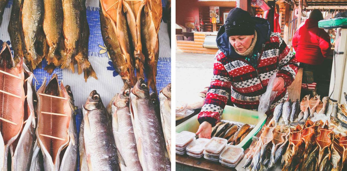 Oily smoked omul fish at a café in Irkutsk where the writer took some time off the Transiberian train.