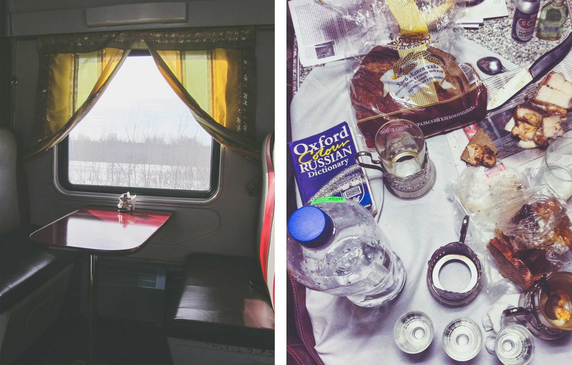 The dining car on the Transiberian Railway.