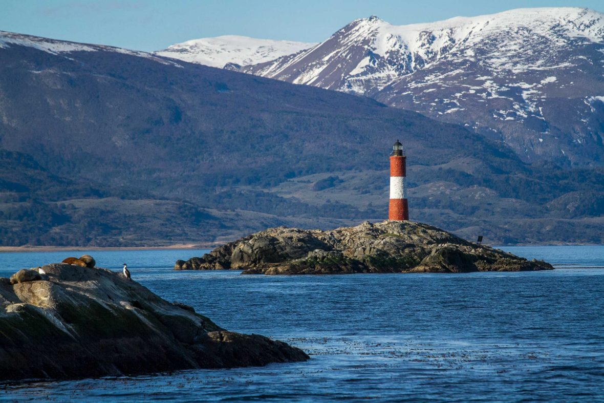 The conically shaped Les Eclaireurs Lighthouse on the Beagle Channel.