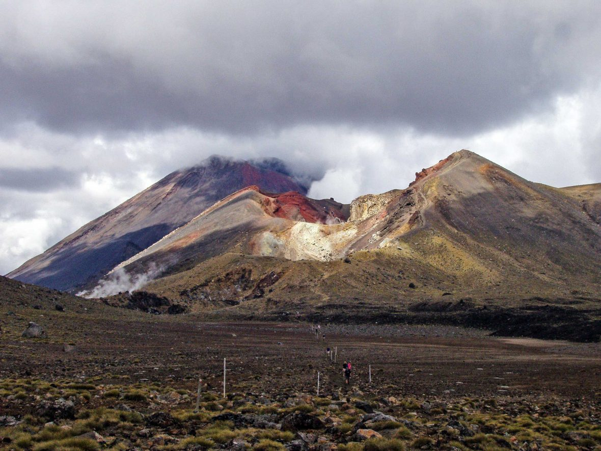 The view of the Red Crater on the Tongariro Alpine Crossing, New Zealand.