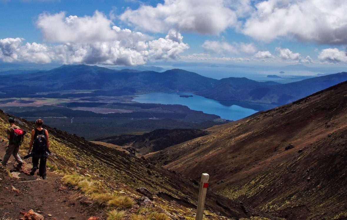The view all the way down to Lake Taupo on the Tongariro Alpine Crossing, New Zealand.