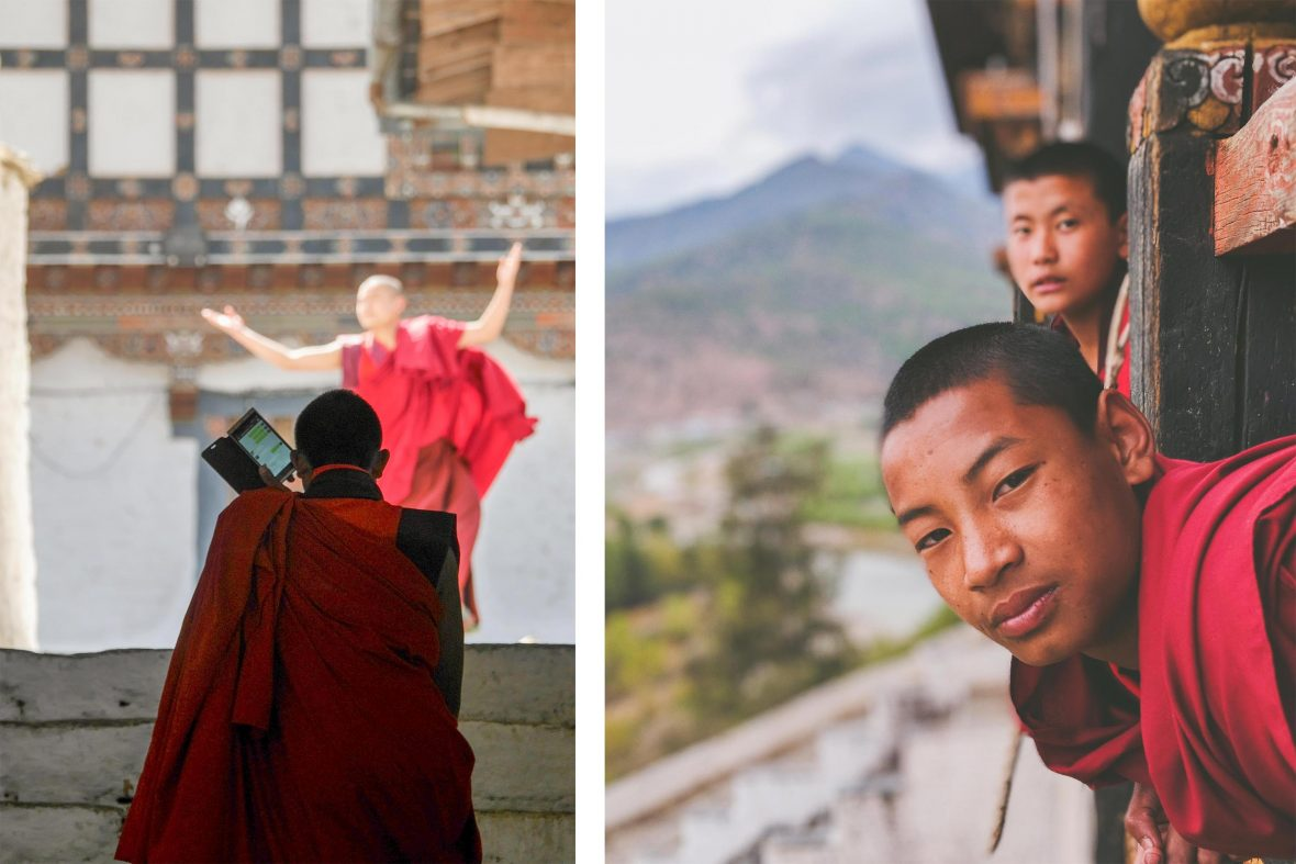 Left: A monk is seen at a temple with his cellphone watching another practise a traditional dance; Right: Monks lean out a window at Nyamai Zam footbrige, Paro, Bhutan.