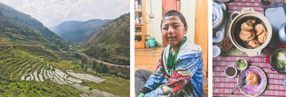 Top: Bhutan landscape; Middle: 10-year-old Jigme; Bottom: A shared meal in Bhutan.