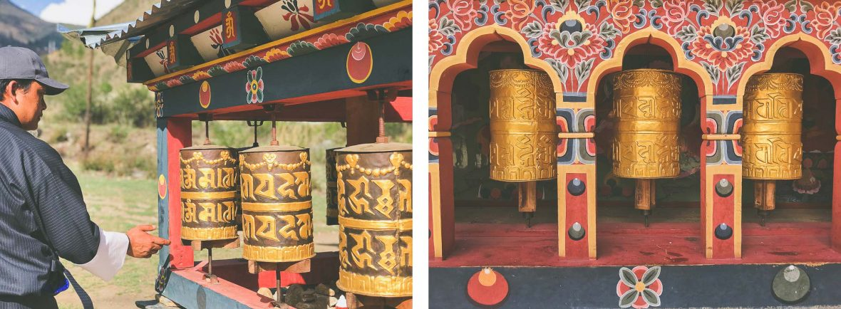 Locals spin the prayer wheels at the Memorial Stupa in Thimphu, Bhutan.