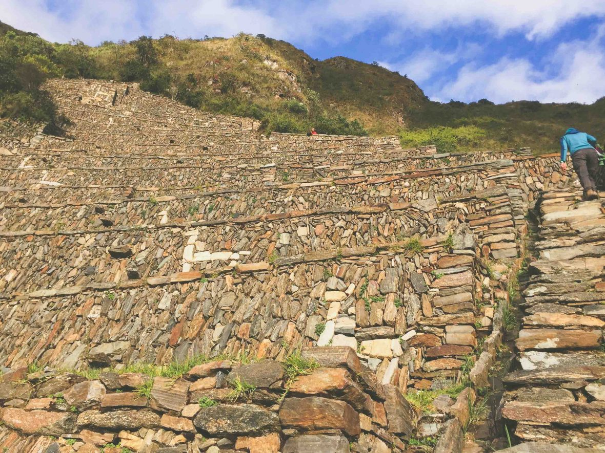 Steep terraces at the ruins of Choquequirao in Peru.