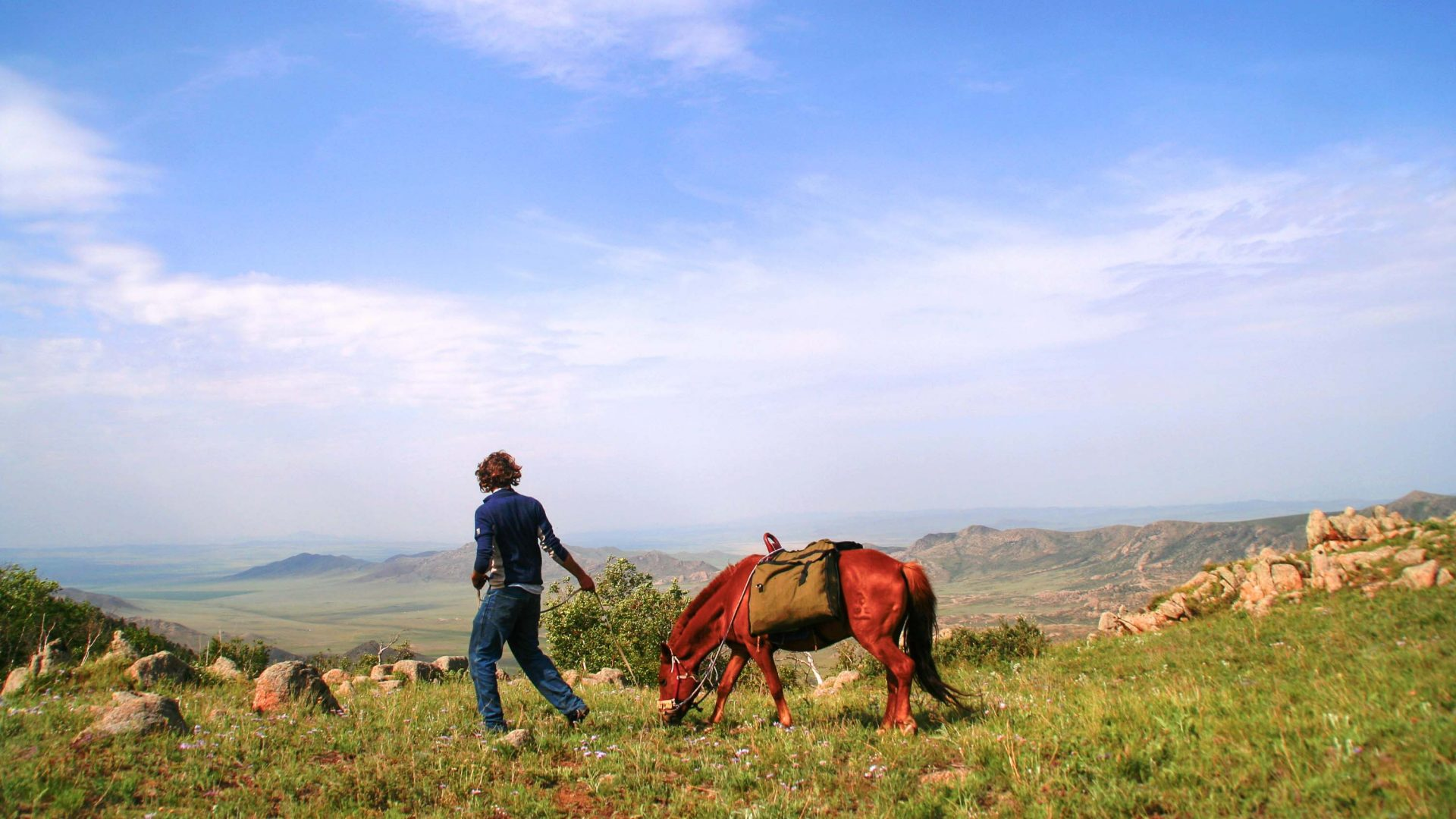 Charlie Walker and 'Little Nicky' during his journey through the Mongolian grasslands.
