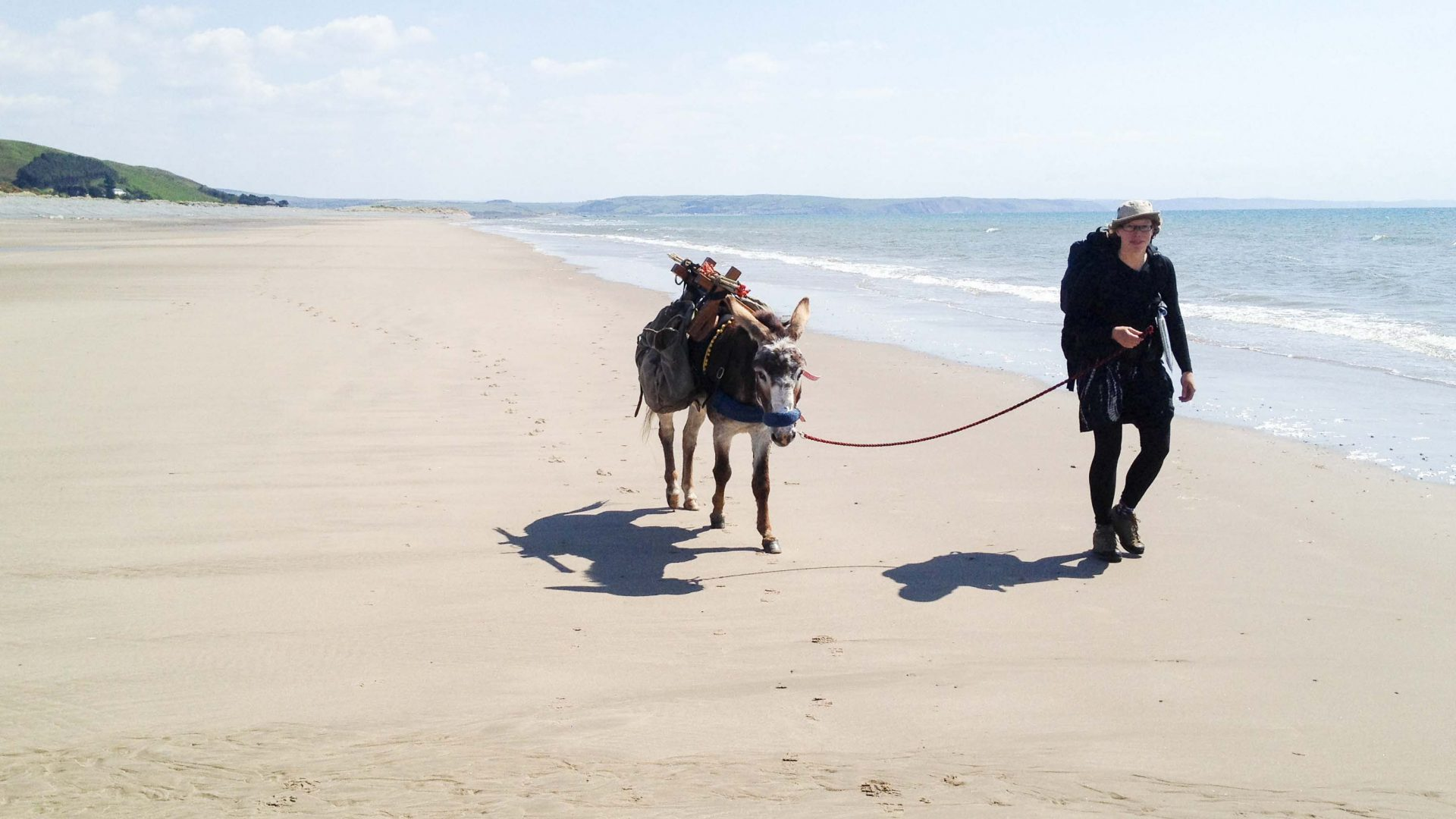 Hannah Engelkamp and her donkey Chico during their 1610-kilometer journey around Wales.
