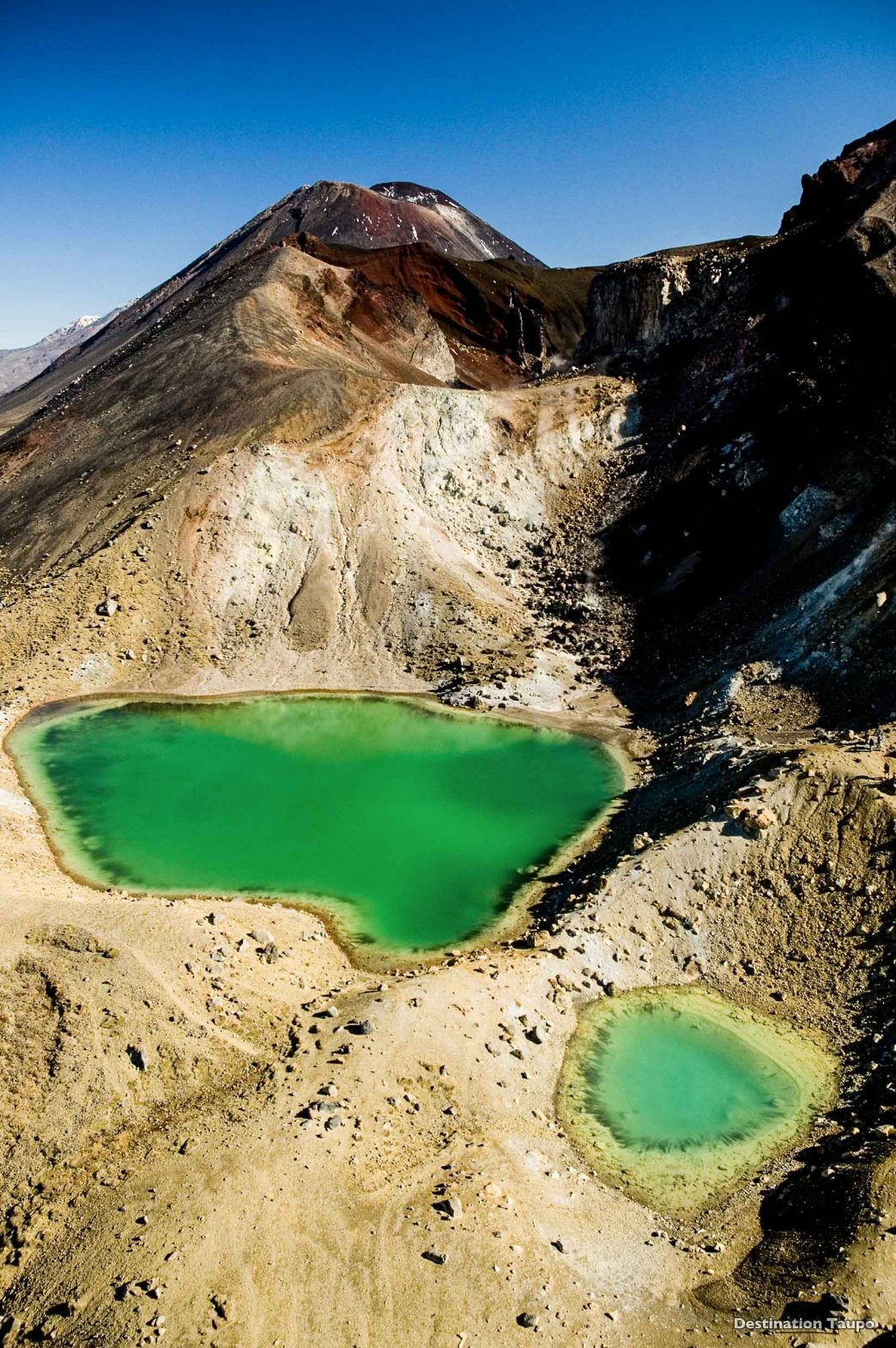 The Emerald Lakes, Ruapehu, as seen from the Tongariro Crossing, New Zealand.