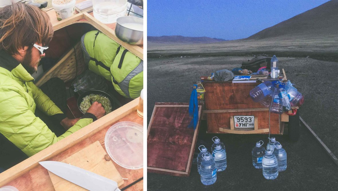 Food and water aboard the land sailing cart used to travel in Mongolia.