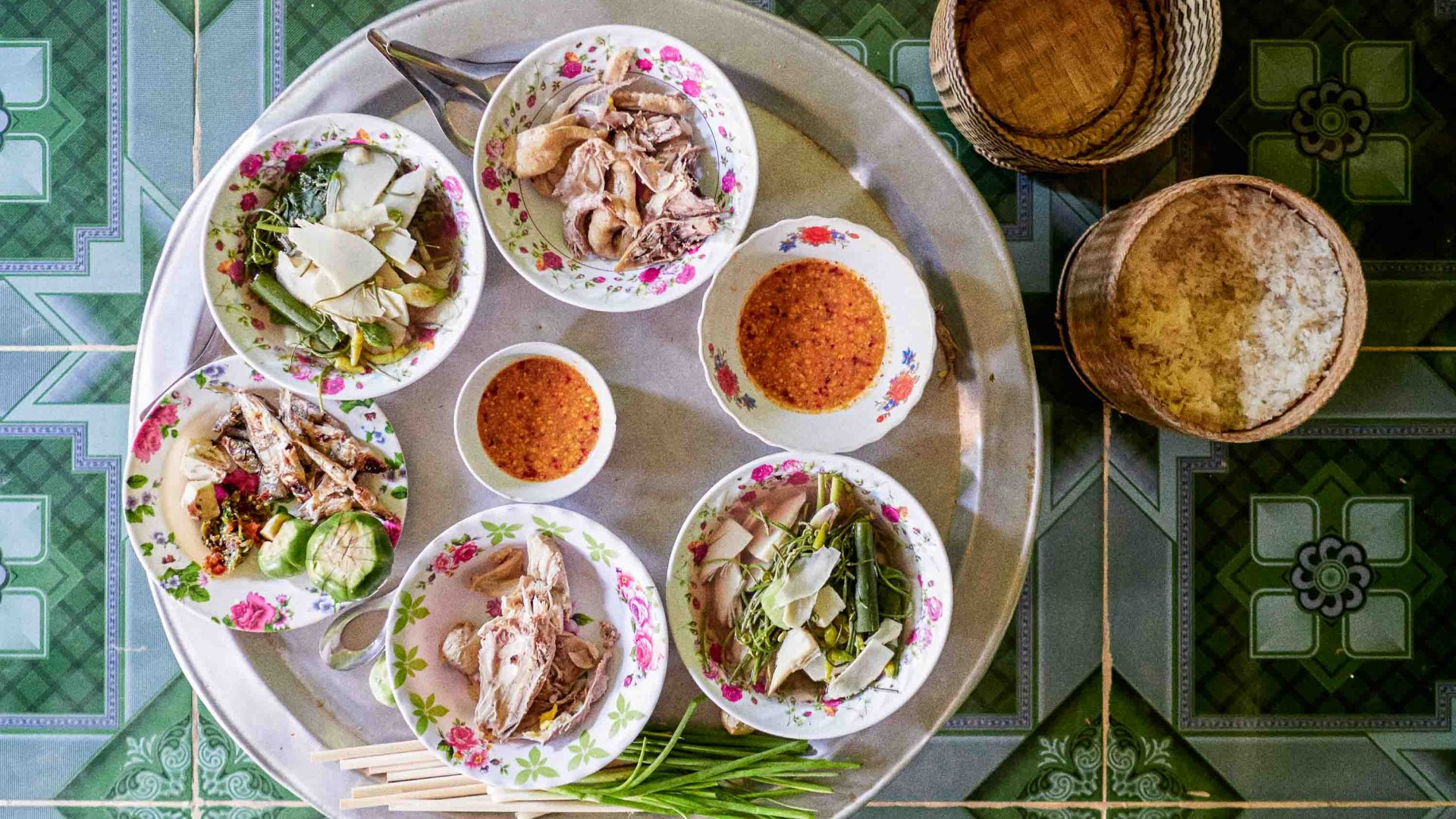 A traditional meal is served up in Laos.