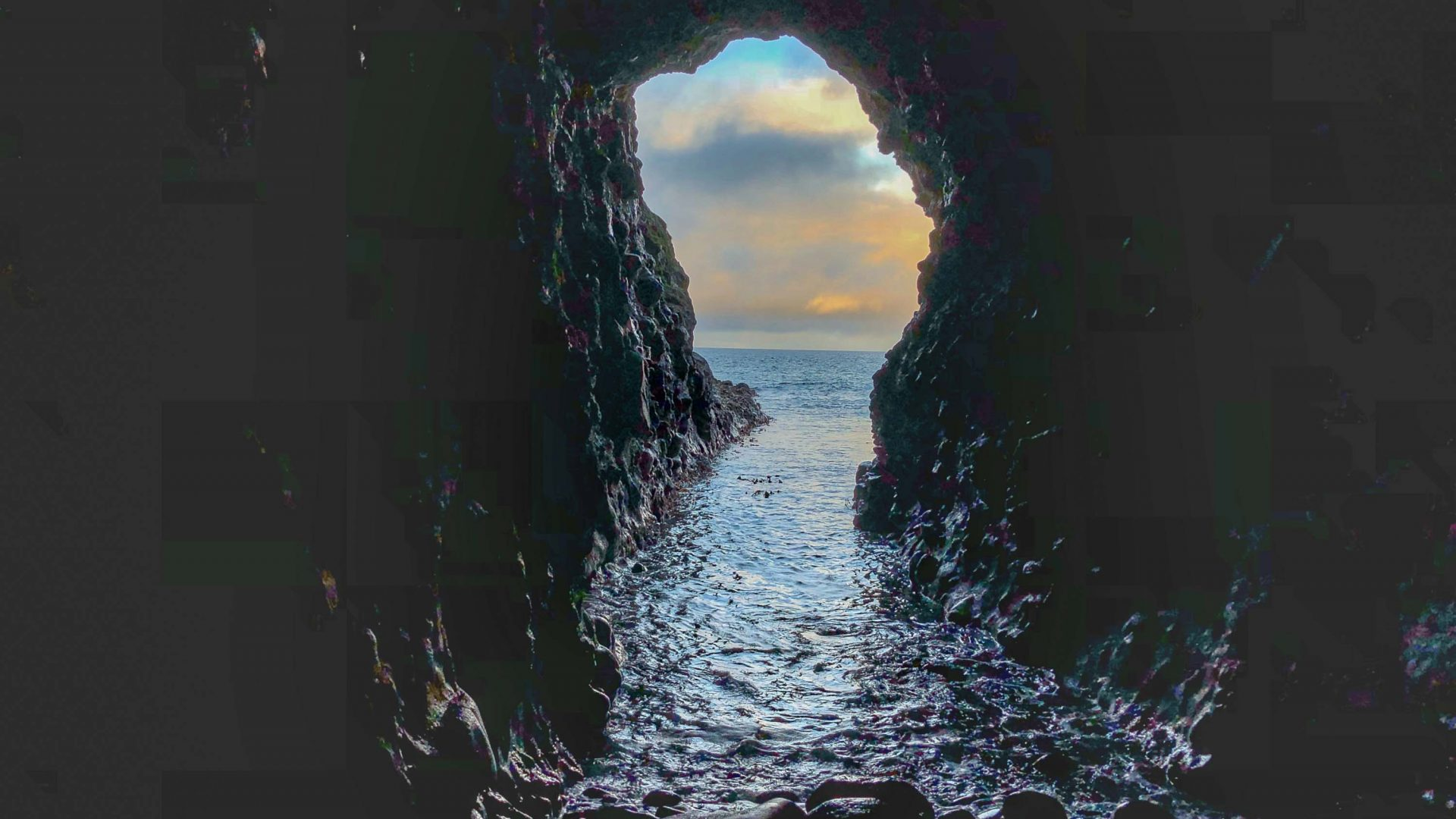 A smuggler's cave below Dunluce Castle on the north coast of Ireland.