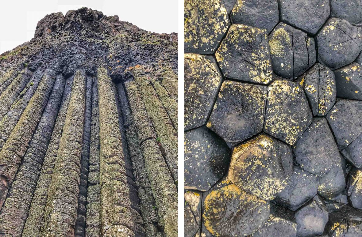 Rock formations at Giant's Causeway in County Antrim on the north coast of Northern Ireland.