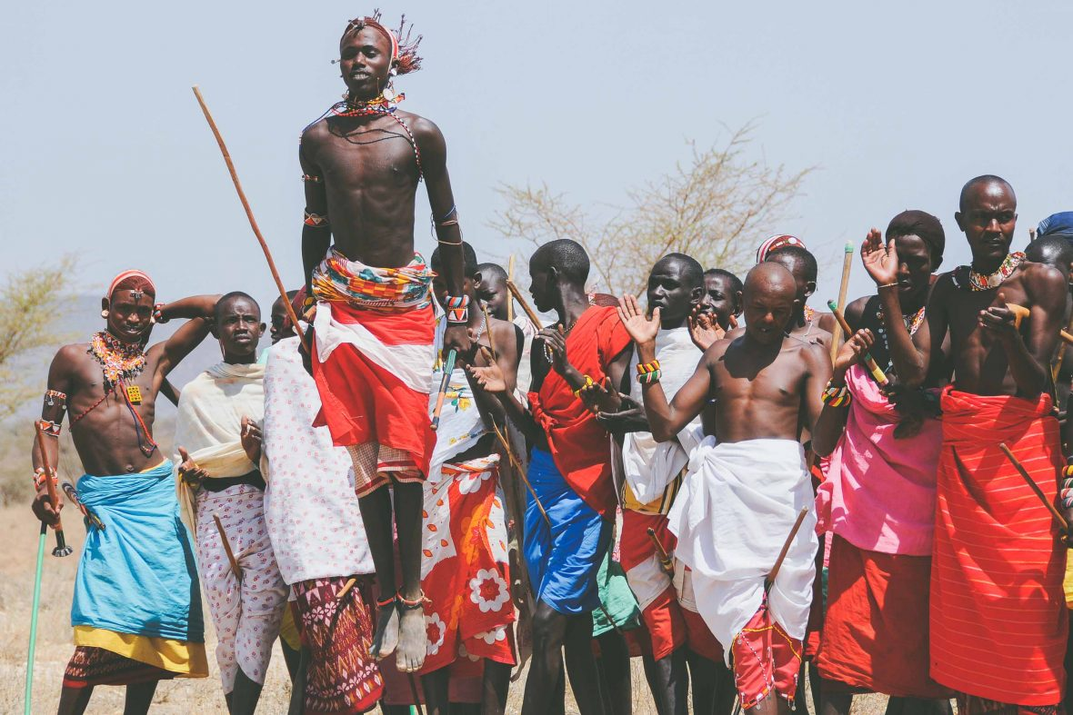 Samburu men gather for a traditional jumping dance in Kenya.