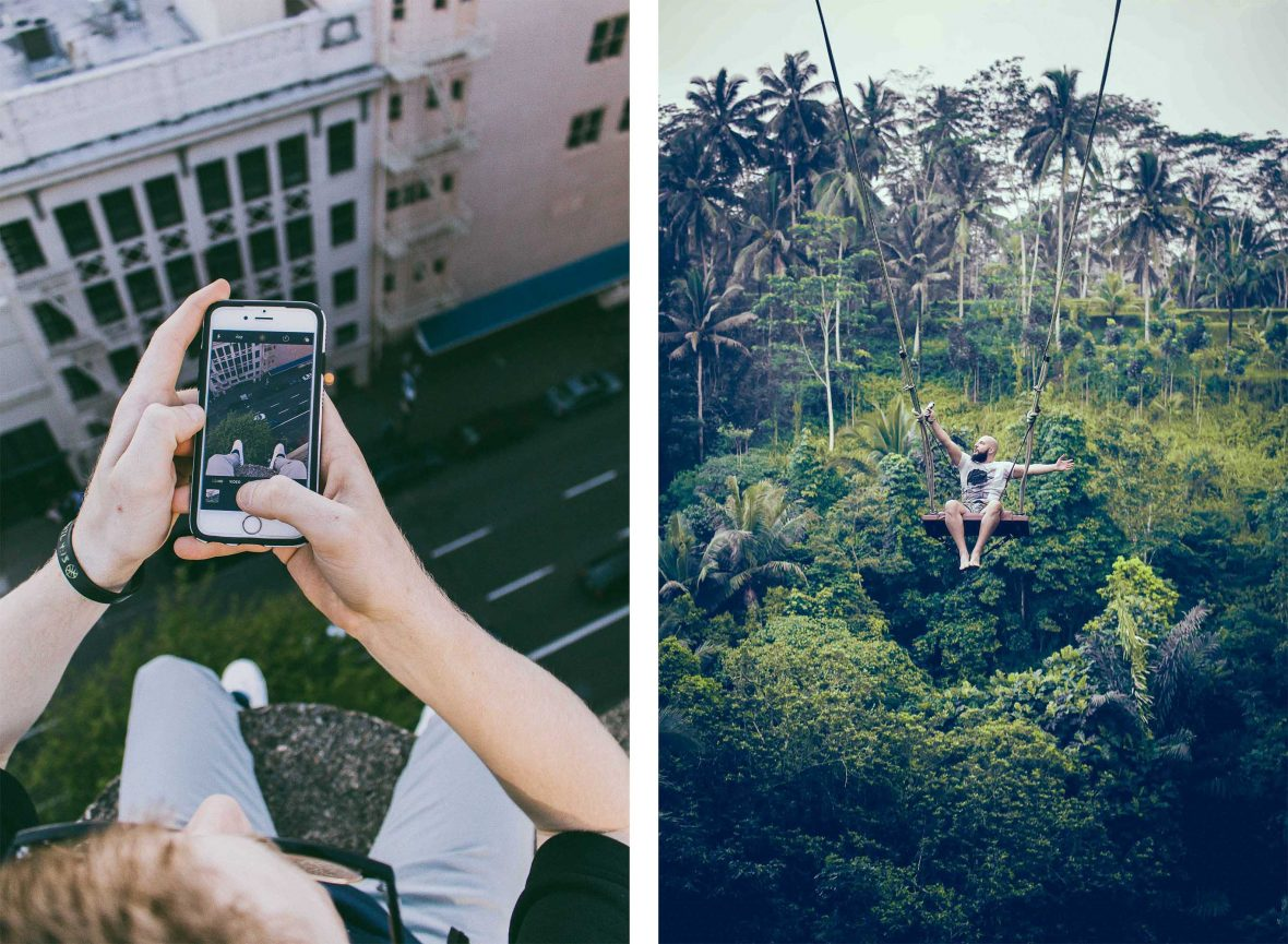 Left: A man takes a risky photo of himself in Portland, USA; Right: A daredevil selfie taken while swinging high above the trees in Bali, Indonesia.