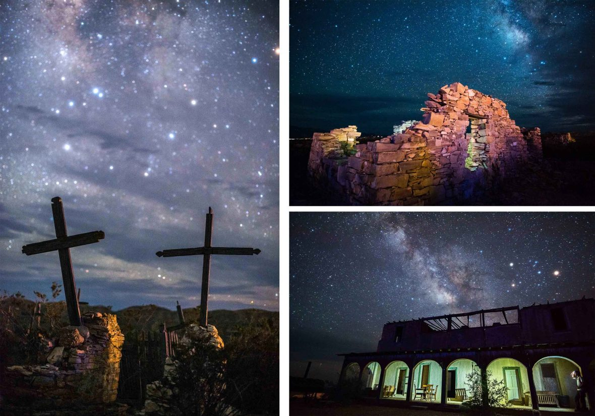 Stars light up the sky above these grave markings and abandoned homes in Terlingua, Texas.