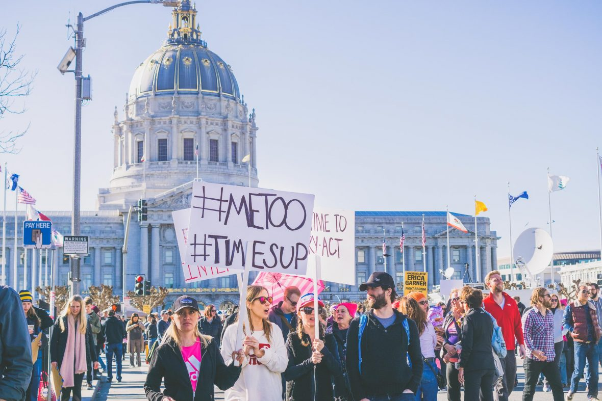 Protestors take to the street in #Metoo protests in San Francisco, USA.