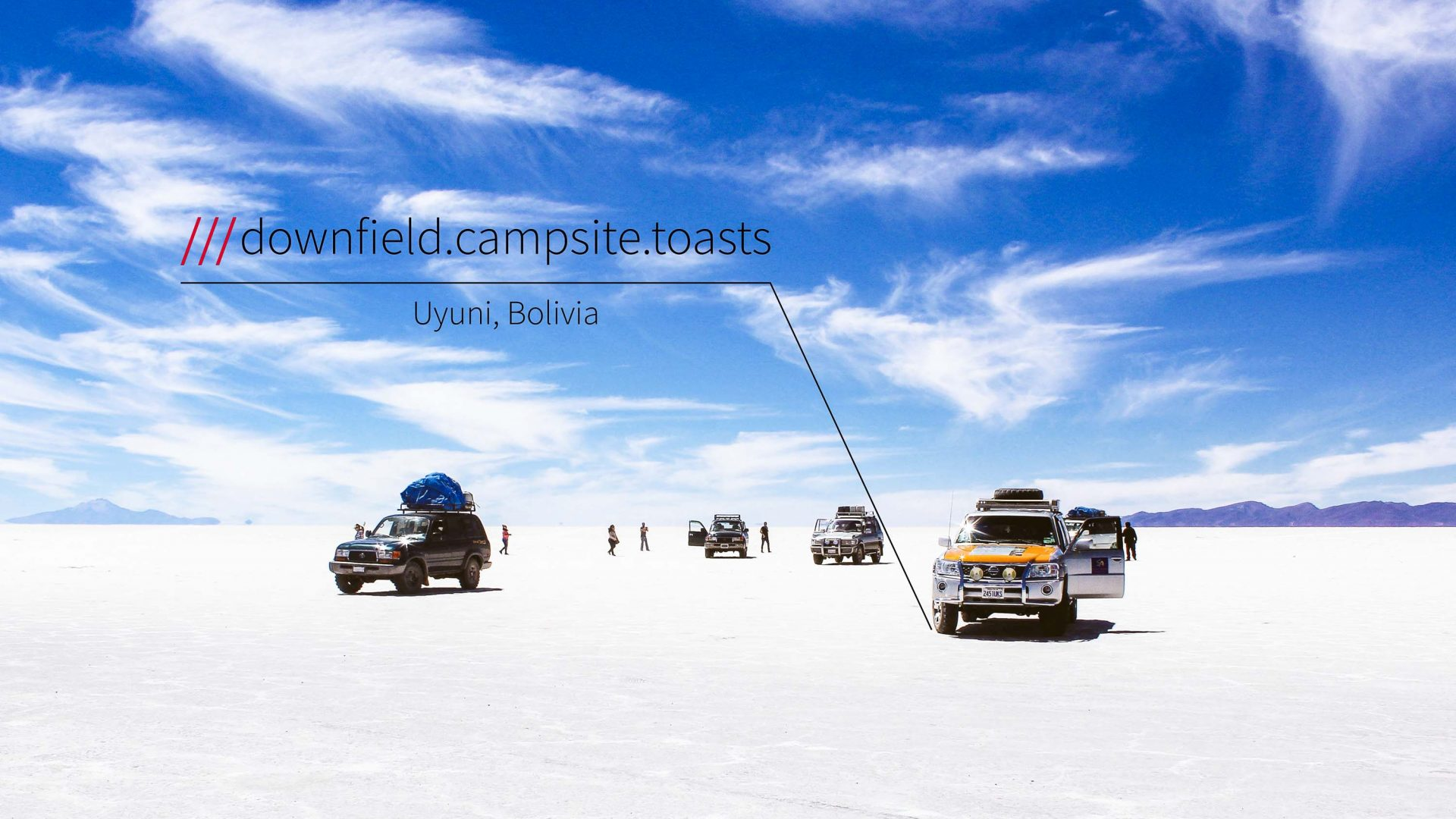 what3words is able to provide the address for these jeeps in the middle of Bolivia's salt plains.