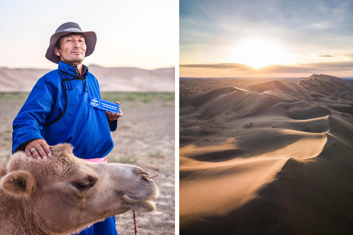 A Lonely Planet guide in Mongolia holds up his three-word address alongside a stunning Mongolian desert scene.