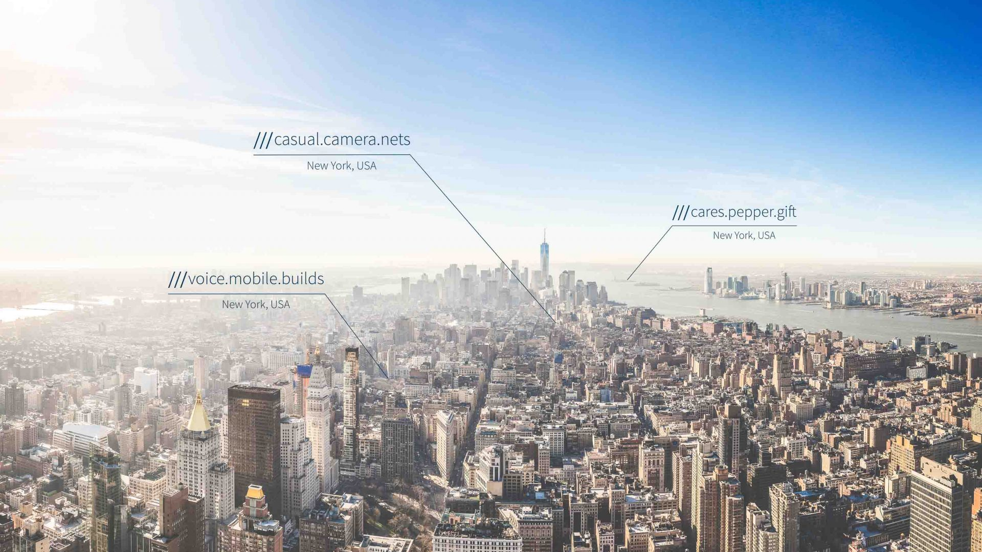 what3words system works globally. Here is generates some 3 word addresses for places in Manhattan, New York.
