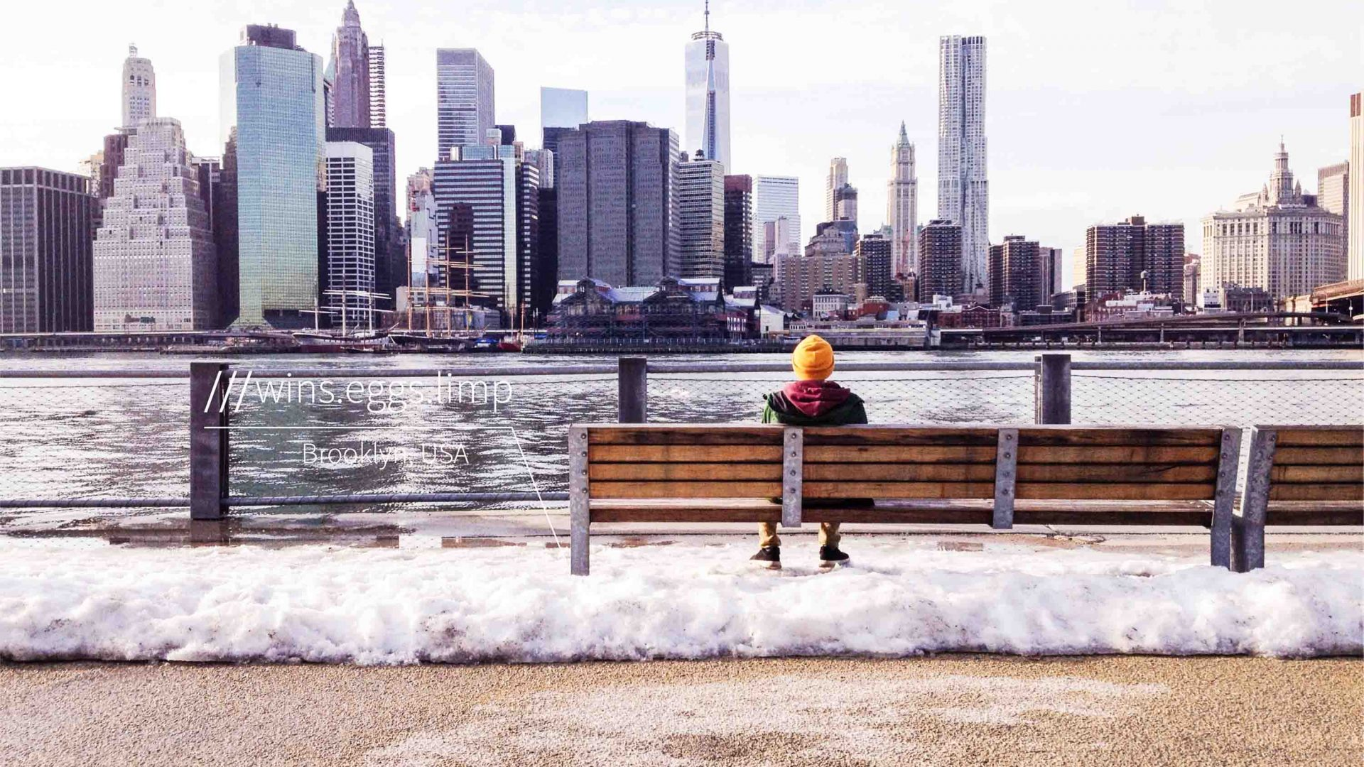 what3words system works globally. Here, it generates a three-word addresses for the spot where this person sits to look at the Manhattan skyline in New York.